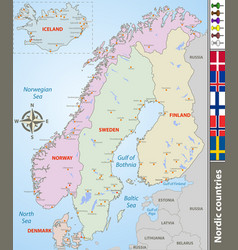 Map nordic countries vector