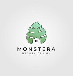 monstera house plant logo florist symbol design vector image
