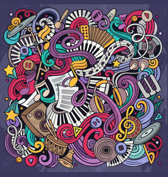 music hand drawn doodles vector image