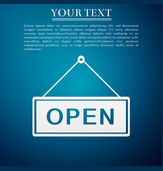 Open door sign flat icon on blue background vector