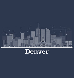 outline denver colorado city skyline with white vector image
