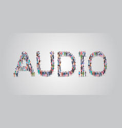 People crowd gathering in shape audio word vector