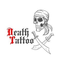 Pirate skull in bandana sketch and crossed swords vector image