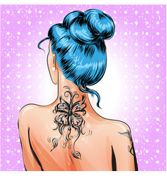 Pop art pin-up girl with tattoo vector