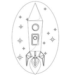 Rocket Flying in the Space among a Stars Contour vector image