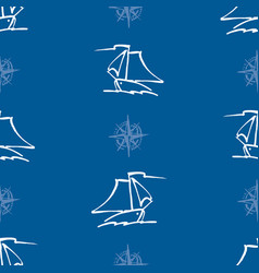 Seamless pattern outlines sailing yachts in sea vector