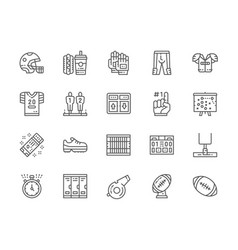 set american football line icons game vector image