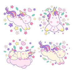 set kawaii cute unicorns sflies and different vector image
