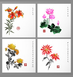 Set of card with flowers in orental style vector