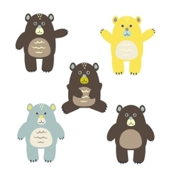 Set of fun cartoon bears for kids vector image