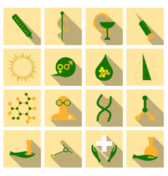 Set of medecine icons onflat style with shadow vector
