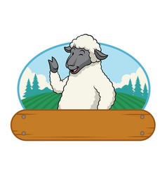 Sheep in farm with wooden blank space vector