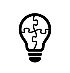 simple light bulb globe with puzzle line art icon vector image