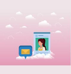 Social media acount woman template vector