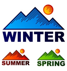 striped winter summer spring mountains vector image