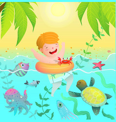 swimming boy kid in tropical paradise island vector image