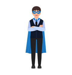 The boy is dressed in a superhero costume a cape vector