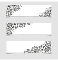 Three banners with black and white flowers vector image
