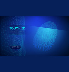 Touch id on dark blue background biometric vector