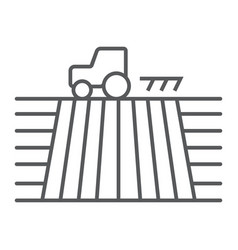 tractor on field thin line icon farming vector image