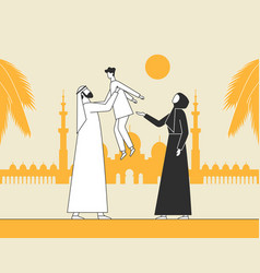traditional arab family muslim mosque vector image