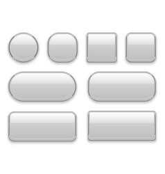 White buttons chrome frame 3d realistic web glass vector
