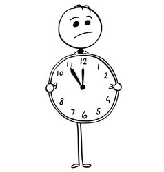 Worried businessman holding large watch clock vector