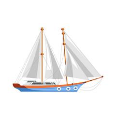 Yacht sailboat or sailing frigate ship sea cruise vector