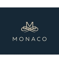 Abstract monogram elegant flower logo premium vector