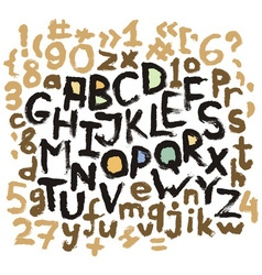 Alphabet grunge letters Hand drawn ink vector image