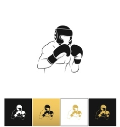Boxer silhouette or boxing combat icon vector image vector image