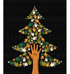 Green Christmas Tree hands vector image vector image