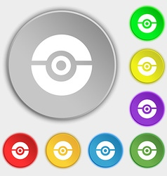 pokeball icon sign Symbol on eight flat buttons vector image vector image