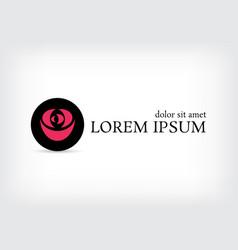 black circle pink rose curve logo design template vector image vector image