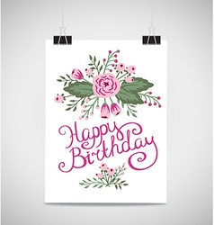 Decorative element floral birthday card A Summer vector image