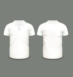 Mens white polo shirt short sleeve vector image