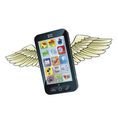 smart mobile phone flying with wings vector image vector image