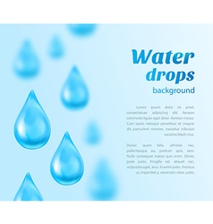Water drops background with place for text vector image vector image