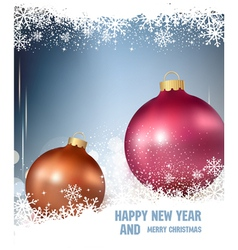 background with two Christmas ball and snowflake vector image vector image