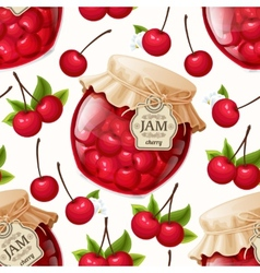 Cherry jam seamless pattern vector image vector image