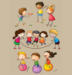happy children playing games vector image vector image