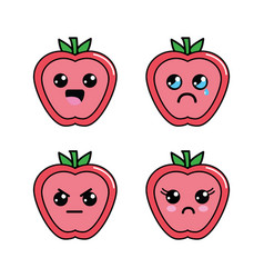 kawaii apple diferents faces icon vector image