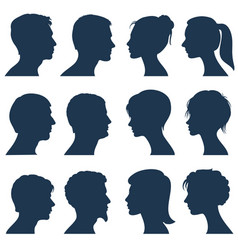 man and woman face profile silhouettes vector image
