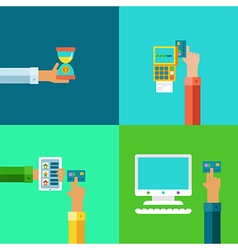 online banking concepts set - pay and receive vector image vector image