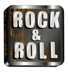 rock and roll metal inscription vector image