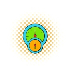 Speedometer and tachometer icon comics style vector image vector image