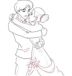 Wedding embracing couple vector image vector image
