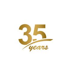 35 years anniversary elegant gold line vector