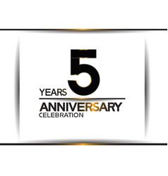 5 years anniversary black color simple design vector