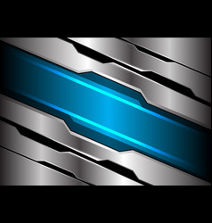 abstract blue light banner on silver polygon vector image